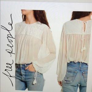 NWT Free people retro sheer tassel blouse
